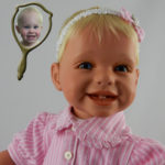 Photo Doll Wearing Pink Striped Dress