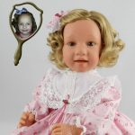 Photo Doll created with softly curled Blonde hair
