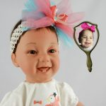 Photo Doll Wearing Coral Tutu Created for 16-Month Old Rosabella